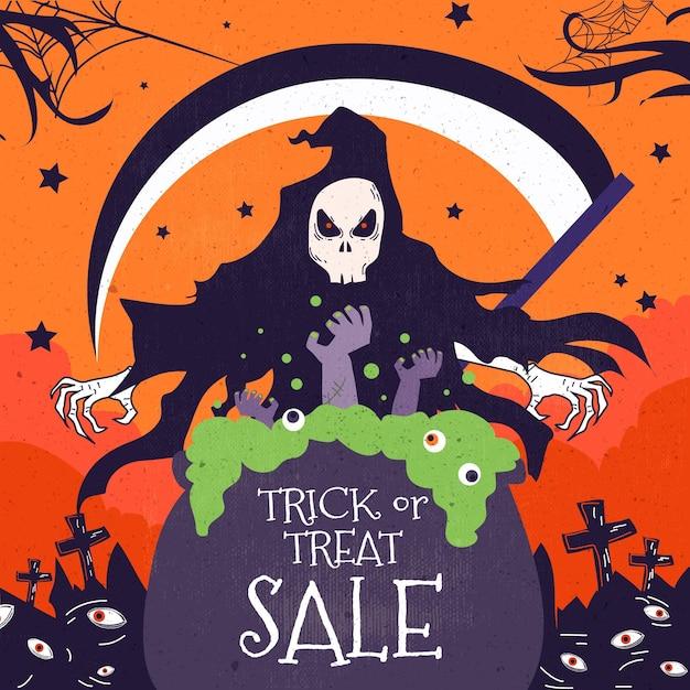 Flat design halloween sale banner Free Vector