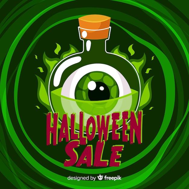 Flat design of halloween sale eye in potion bottle Free Vector