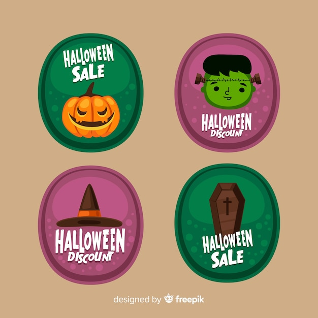 Flat design of halloween sale label collection Free Vector