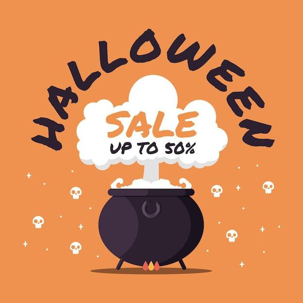 Плоский дизайн продвижение продажи хэллоуин Бесплатные векторы