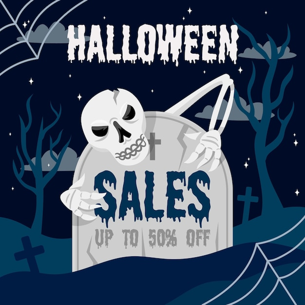 Flat design halloween sale Free Vector