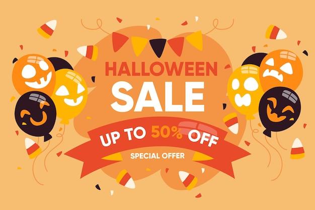 Плоский дизайн хэллоуин продажа Бесплатные векторы