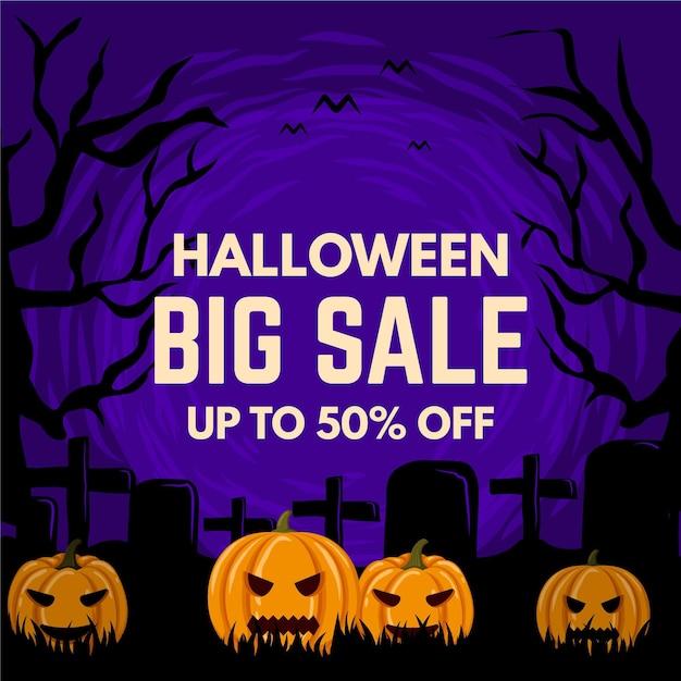 Flat design halloween sale Free Vector