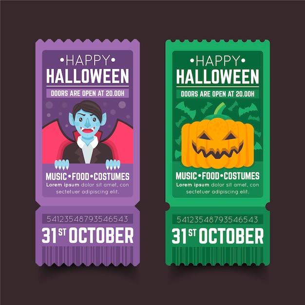Set di biglietti di halloween design piatto Vettore gratuito