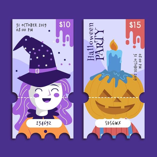 Modello di biglietti di halloween design piatto Vettore gratuito
