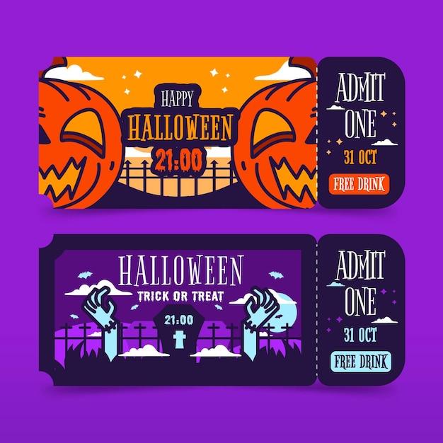 Biglietti di halloween design piatto Vettore gratuito