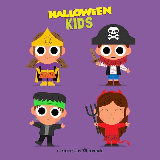 Flat design of hallowen kid collection Free Vector
