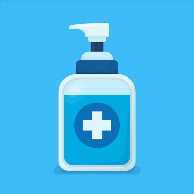 Flat design hand sanitizer container Free Vector