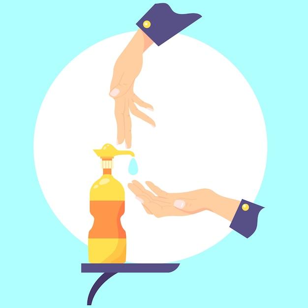 Illustrazione di disinfettante per le mani design piatto Vettore gratuito