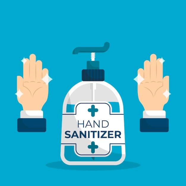 Disinfettante per le mani dal design piatto Vettore gratuito