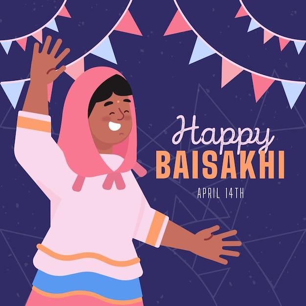 Baisakhi design piatto felice Vettore gratuito