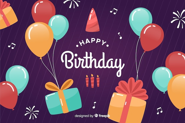 Flat design happy birthday background with balloons Free Vector