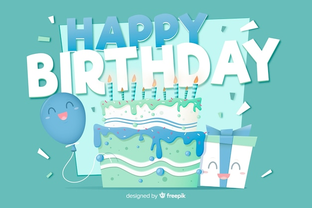 Flat design happy birthday background with cake Free Vector