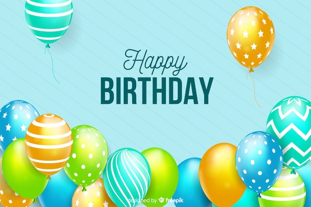 Flat design happy birthday background Free Vector