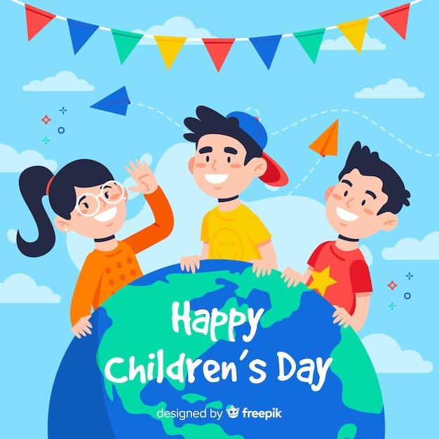 Flat design happy children's day background Free Vector