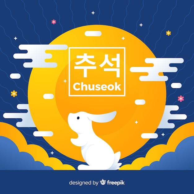Flat design happy chuseok with rabbit Free Vector