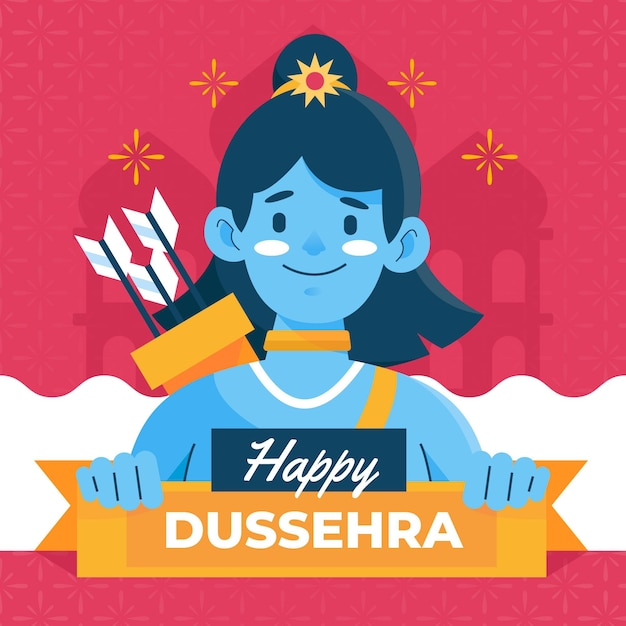 Flat design happy dussehra background with lord rama Premium Vector