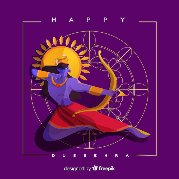 Flat design happy dussehra background Free Vector