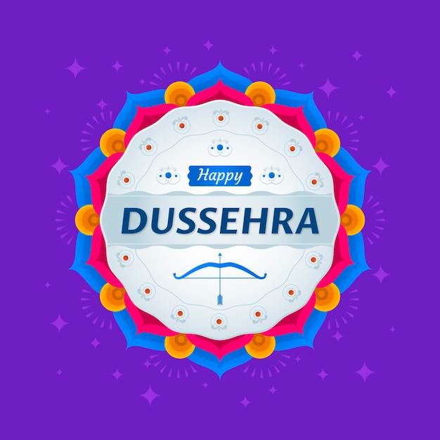 Flat design happy dussehra background Free Vector