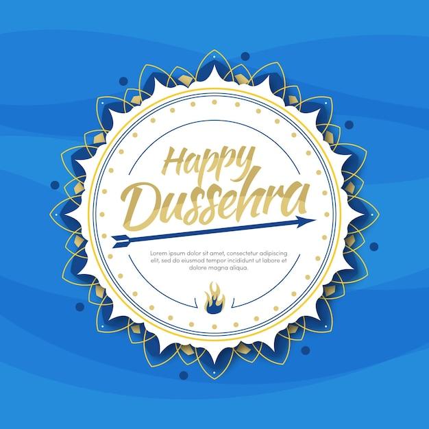 Flat design happy dussehra Premium Vector