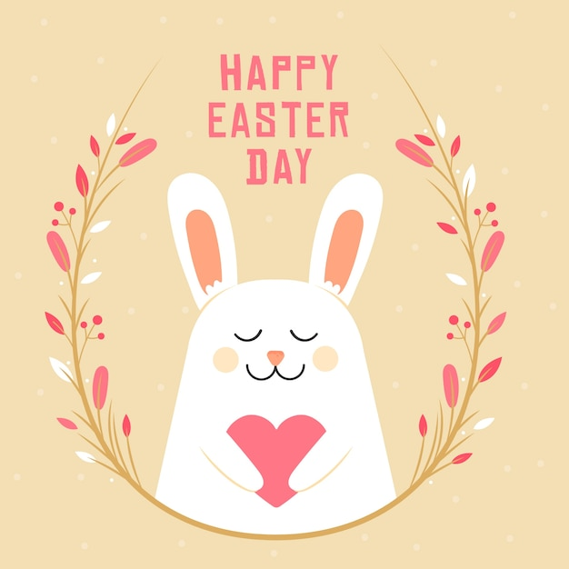 Плоский дизайн счастливого пасхального дня фон с кроликом Бесплатные векторы