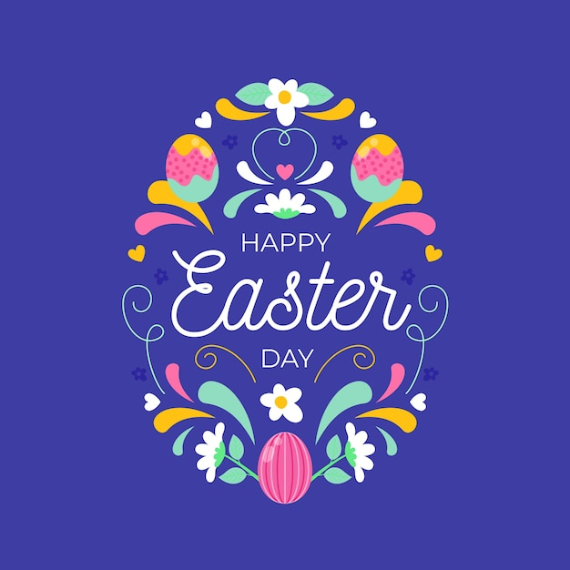 Flat design happy easter day concept Free Vector