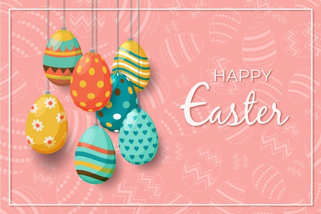 Flat design happy easter day Free Vector