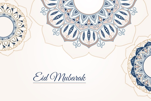 Flat design happy eid mubarak abstract design Free Vector