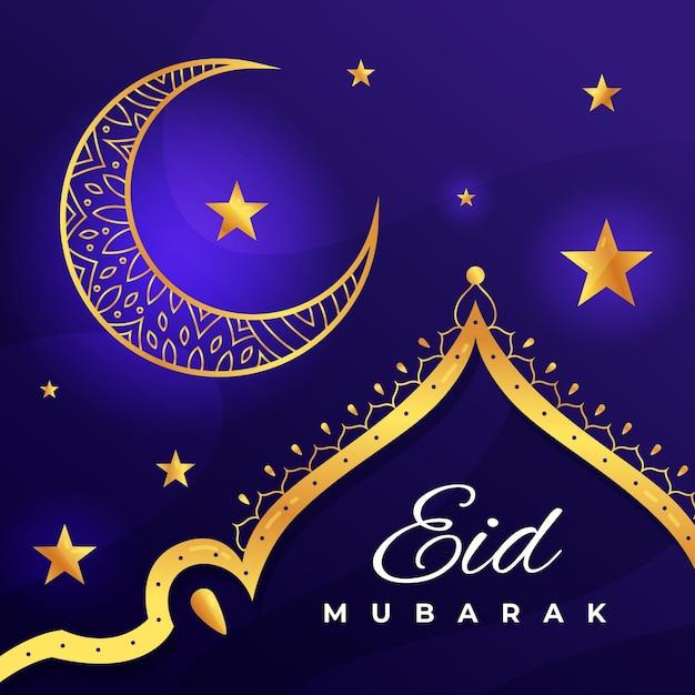 Плоский дизайн happy eid mubarak золотая луна и звезды Бесплатные векторы