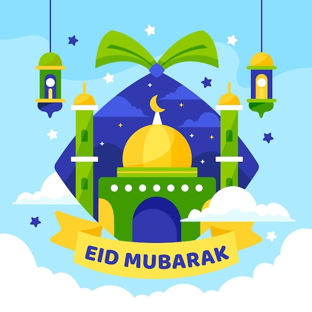 Flat design happy eid mubarak green and yellow mosque Free Vector