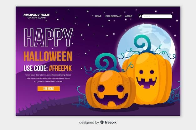Flat design happy halloween landing page Free Vector