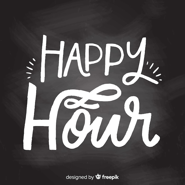Flat design happy hour lettering on chalkboard Free Vector