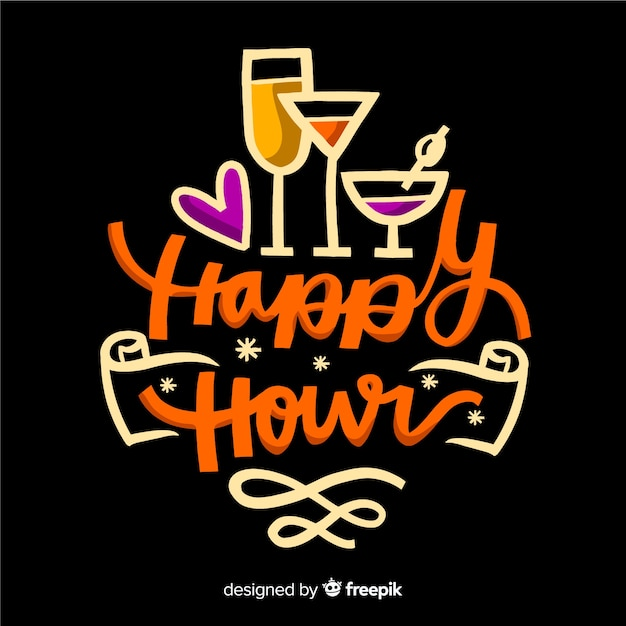 Flat design of happy hour lettering Free Vector