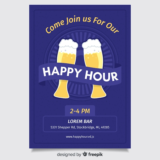 Flat design happy hour poster Free Vector