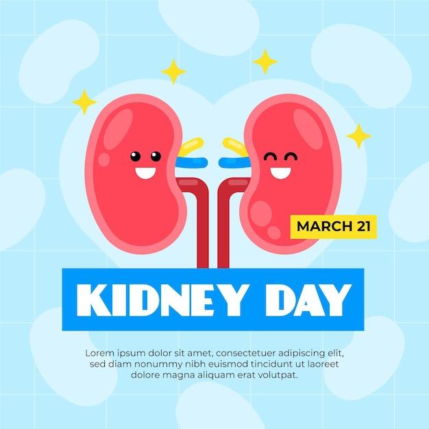 フラットなデザインの幸せな腎臓の日 無料ベクター