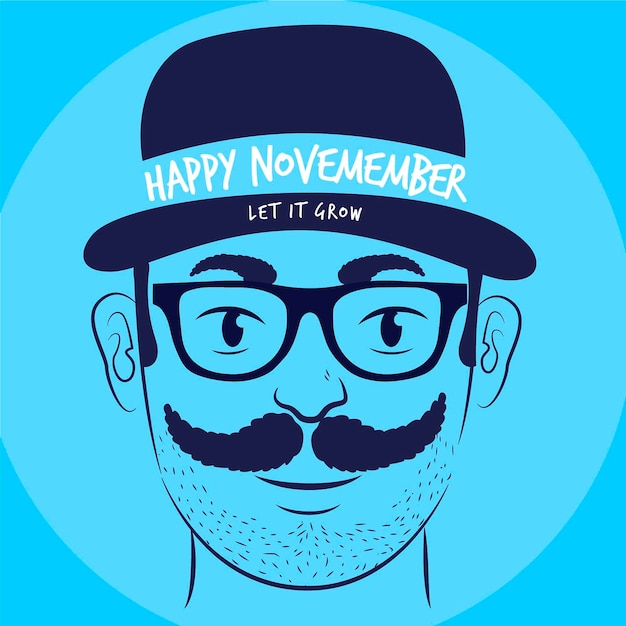 Flat design happy movember let it grow background Free Vector