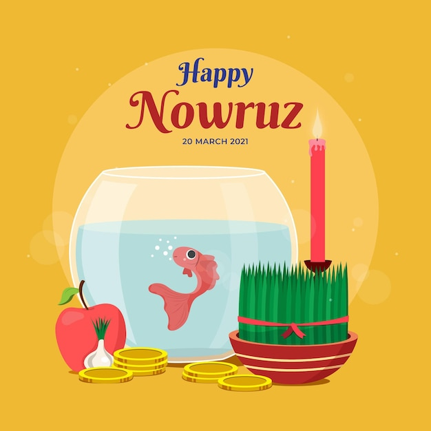 Flat design happy nowruz elements Free Vector