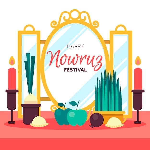 Flat design happy nowruz event Free Vector
