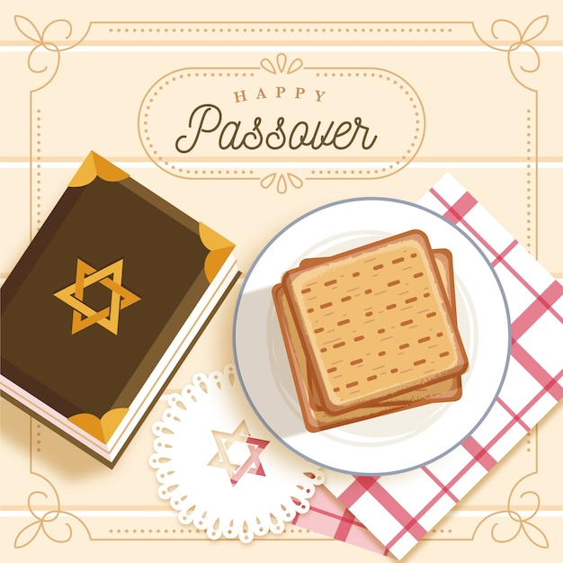 Flat design happy passover concept Free Vector