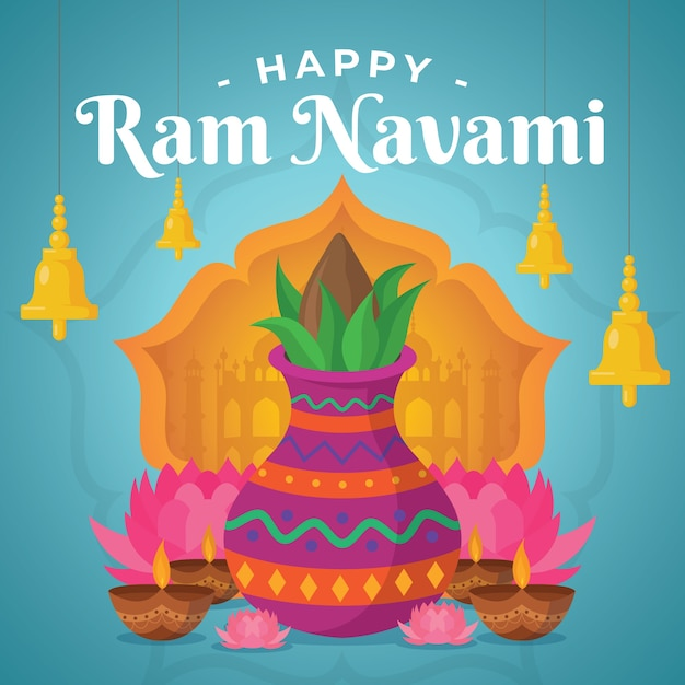 Flat design happy ram navami day event the、e 無料ベクター