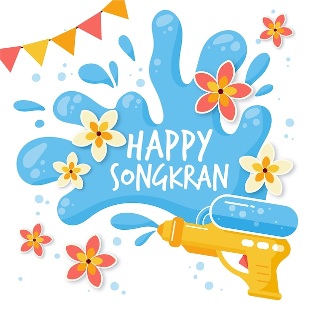 Flat design happy songkran thailand Free Vector