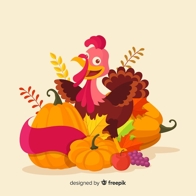 Flat design happy thanksgiving background with food Free Vector
