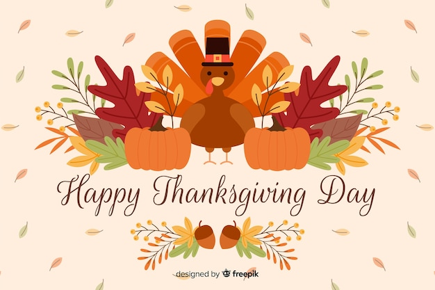 Flat design of happy thanksgiving background Free Vector