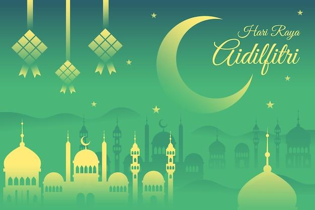 Плоский дизайн мечети хари райя ассальфитри ночью Premium векторы