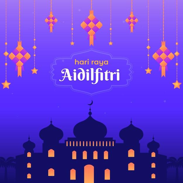 Плоский дизайн мечети хари райя ассальфитри Premium векторы