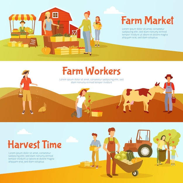 Flat design harvest time horizontal banners Vector | Free ...