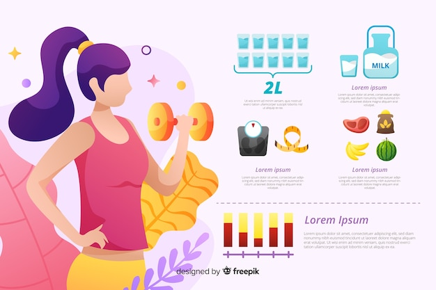Flat design health infographic template Free Vector