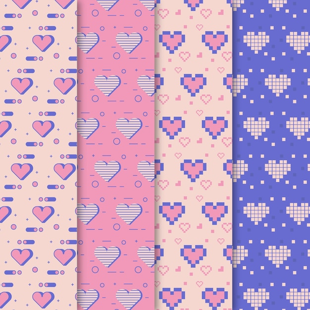 Flat design heart pattern collection Premium Vector