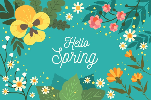 Flat design hello spring background Free Vector