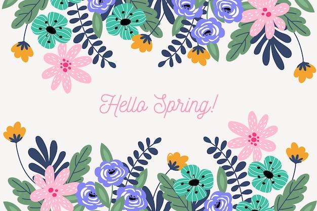 Design piatto ciao primavera sfondo Vettore gratuito